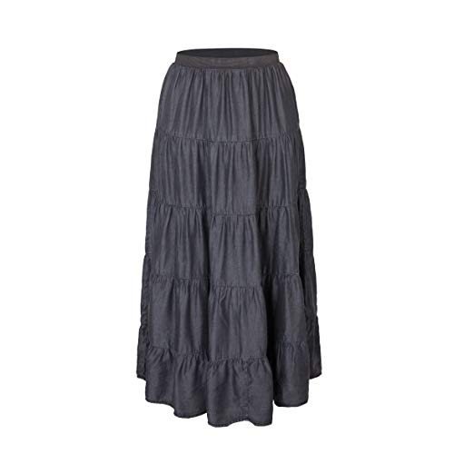 Tronjori Womens A Line Maxi Long Lightweight Tencel Denim Tiered Skirt with Multi Layers (S, Black Multi Layer)