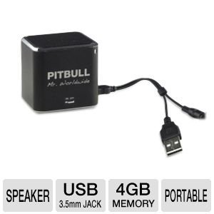 Pitbull RockDoc Power 1-Way Portable MP3 Speaker with 4GB Memory - Black