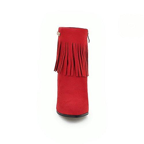 AgooLar Damen Eingelegt Hoher Absatz Reißverschluss Spitz Zehe Stiefel mit Fransig, Rot, 39