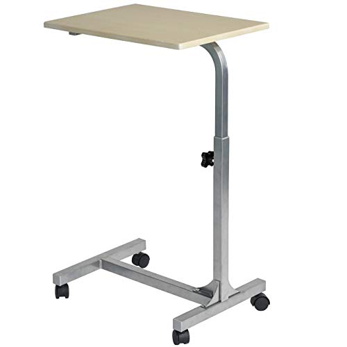 Coavas Laptop Desk Medical Adjustable Height Overbed Table Multi-Purpose Portable Computer Desk Bed Sofa Side Table with Wheels - Beech -