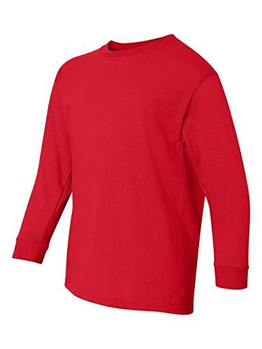 (Gildan Youth Heavy Cotton Long Sleeve T-Shirt 5400B - Red_XL)