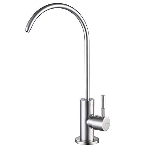 (ESOW Kitchen Water Filter Faucet, 100% Lead-Free Drinking Water Faucet Fits most Reverse Osmosis Units or Water Filtration System in Non-Air Gap, Stainless Steel 304 Body Brushed Nickel Finish)