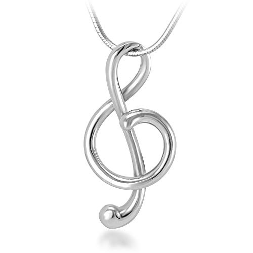 (925 Sterling Silver Treble G Clef Musician Pendant Necklace, 18 inch Snake)