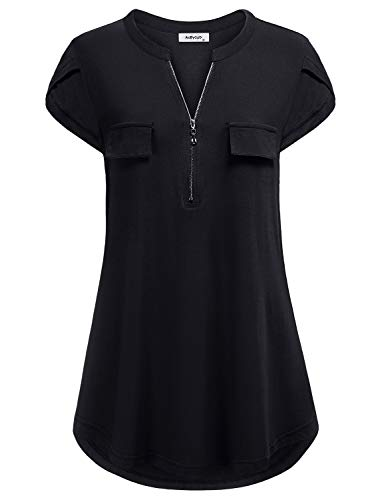 - AxByCzD Henley Tunic Shirts for Women,Ladies Vintage Zipper V Neck Tshirts Short Sleeve Casual Blouse with Fake Pocket Flowy Hem Cozy Tops Solid Color Plus Size Maternity Business Clothes Black XL