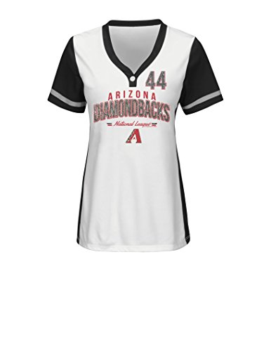 VF LSG MLB Arizona Diamondbacks Women's Rugged Competitor Pull Over Color Block Name & Number Player Jersey, Large, White/Black