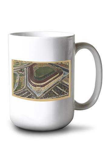 Lantern Press New York - Yankee Stadium from The Air #1 - Vintage Halftone (15oz White Ceramic Mug)