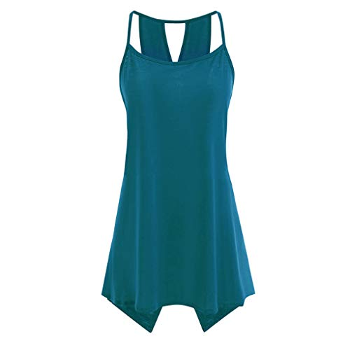 Londony ♪ Women's Short Sleeve Scoop Neck T Shirt Casual Tops Solid Sleeveless Tunic for Leggings Swing Flare Tank Tops Green