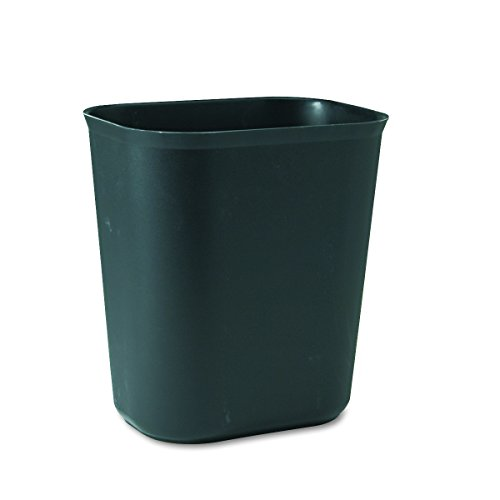 (Rubbermaid Commercial RCP 2541 BLA RCP254100BK Fire-Resistant Wastebasket, Rectangular, Fiberglass, 3.5 gal, Black)