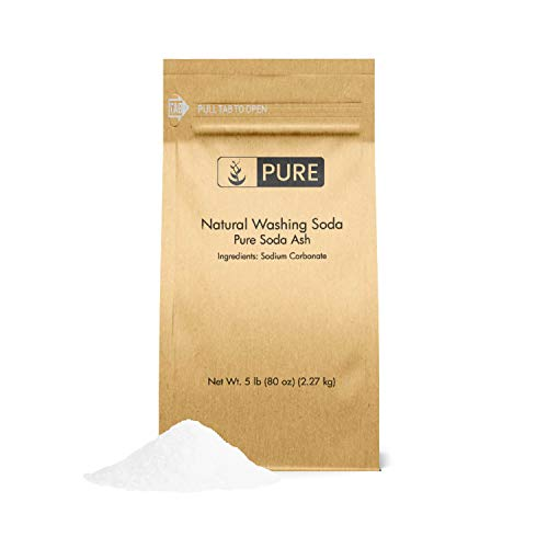Natural Washing Soda (5 lb.) by Pure Organic Ingredients, Also Called Soda Ash or Sodium Carbonate, Eco-Friendly Packaging, Multi-Purpose Cleaner, Water Softener, Stain-Remover