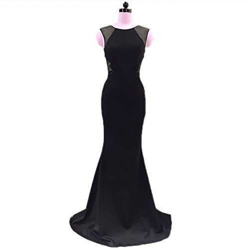 Mermaid Slim Bra In Gown Fit Evening Sleeveless Women`s Built Round Black Neck cotyledon 1Aq65n0Pwx