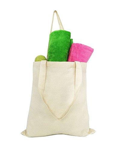予算Friendly 100 %コットンReusable Grocery Plainトートバッグ、アートand Craftsコットンバッグ、ウェディングパーティーギフトバッグ15