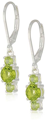 Sterling Silver Genuine Peridot 5mm and 3mm Three Stone August Birthstone Leverback Dangle Earrings ()