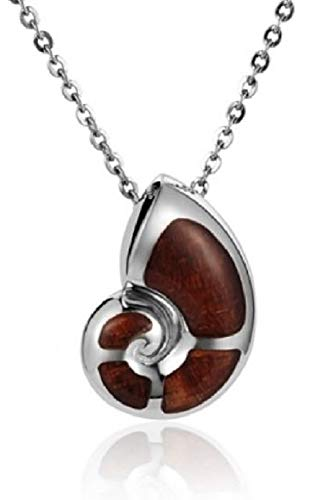 Aloha Jewelry Company Sterling Silver Koa Wood Nautilus Shell Necklace Pendant with 18