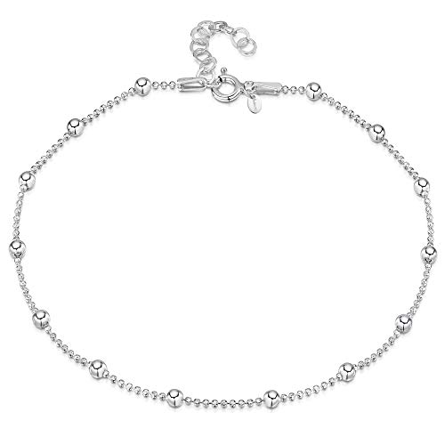 (925 Fine Sterling Silver 3.2 mm Adjustable Anklet - Ball Bead Chain Ankle Bracelet - 9