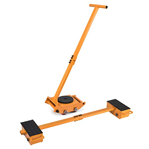 (OrangeAIndustrial Machinery Mover 6T+2X2.5T Capacity Machinery Moving Skates w/Steel Rollers Cap 360 Degree Rotation Machinery Mover Dolly with 39 Inch Push Rod (11T))