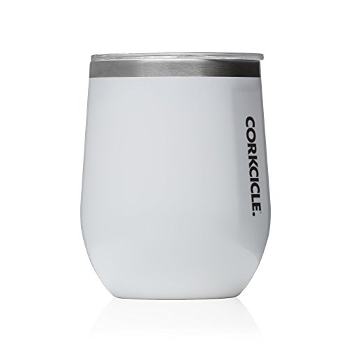 Corkcicle 12 oz Triple-Insulated Stemless Glass (Perfect for Wine) - Gloss White