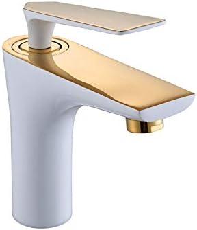 毎日の装飾温冷水栓蛇口ヨーロッパの銅厚い高温耐性低温洗面器金ホワイトペイント耐摩耗性防食キッチン洗面器タップ