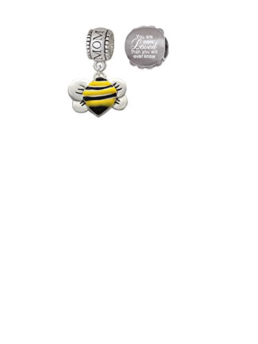Charms Baby Bee (Large Enamel Bumble Bee Mom Charm Bead with You Are More Loved Bead (Set of 2))