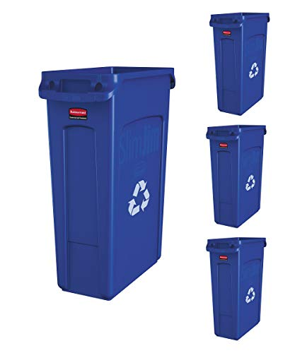 Slim Jim Trash Can Waste Bin with Venting Channels, Blue Recycling, (Pack of 4)