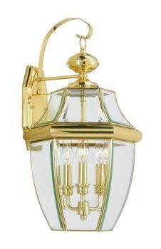 Livex Lighting 2351-02 Monterey 3 Light Outdoor Polished Brass Finish Solid Brass Wall Lantern  with Clear Beveled Glass
