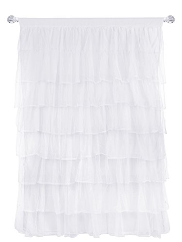 (Tadpoles Multi-Layer Tulle Curtain Panel, White, 84 Inch)