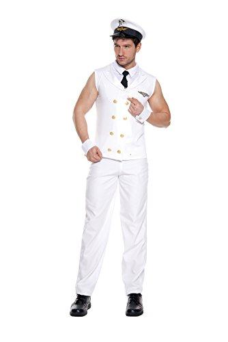 Sexy Christmas Costumes For Men (Music Legs Men's Airline Pilot, White, Medium)