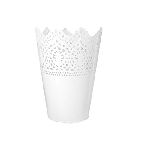 Flower Pot RALMALL Iron Flower Pot Hollow Flower Planter Holder Crown Lace Pierced Flower Vase Storage Pencil Holder Home Decoration (White)