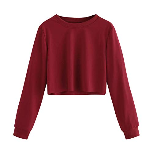 Women's Crop Top Casual Long Sleeve Pullover Sweatshirt Rong Neck Solid Blouse Hoodie Tops (Red, XL)