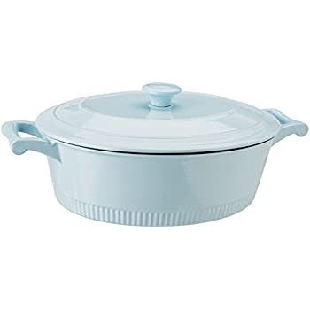 KitchenAid KCTI60CRGB Traditional Cast Iron Casserole Cookware, 6 Quart,  Glacier Blue