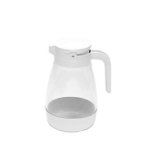 Service Ideas SY916WH Syrup Dispenser, 16 oz, White/Clear