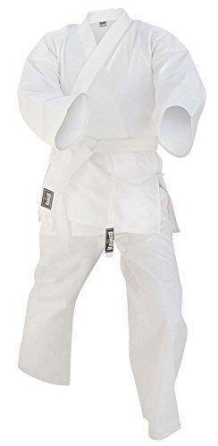 Niños traje de Karate uniforme artes marciales Poly algodón 6-oz color blanco 000A 3tamaños Prime Leather