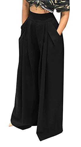 - SHINFY Plus Size Wide Leg Pleated Lounge Pants for Women - Loose Belted High Waist Black