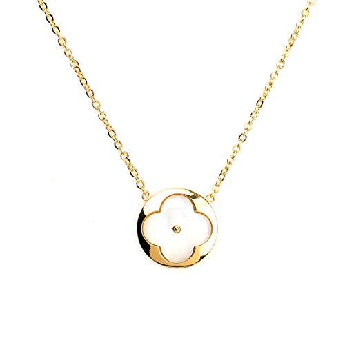 United Elegance Delicate Gold Tone Necklace with Contemporary Clover Design and Faux Mother-of-Pearl Inlay (160063)