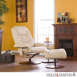 """Parrish Leather Recliner and Ottoman (Taupe) (40.5""""H x 31""""W x 31""""D)"""