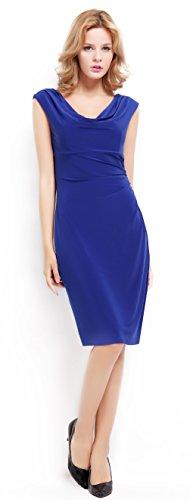 BI.TENCON Women's Drape Cowlneck Cap Sleeve Blue Ruched Bodycon Evening Party Dresses XL for cheap