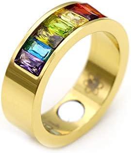 Energetix 4you 9002 - Anillo magnético de piedras preciosas de Swarovski, 24 quilates, chapado en oro macizo, multicolor