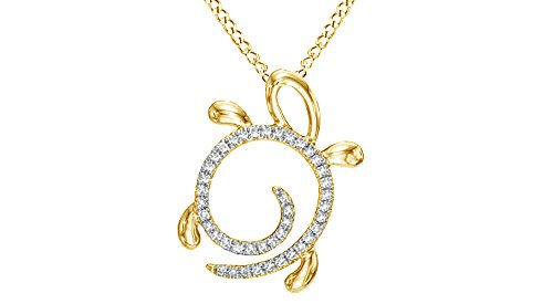 Jewel Zone US Natural Diamond Turtle Pendant Necklace 10k Solid Gold (1/10 ()