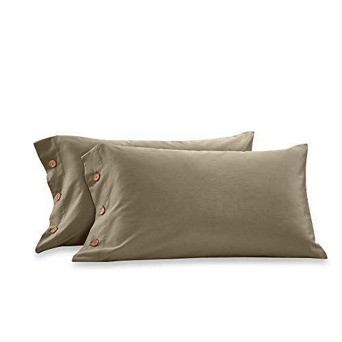 Taupe, Standard Orose 600 Thread Count Cotton Pillowcase-100/% Long Staple Cotton Standard Pillowcase Set of 2,Soft and Silky Bed Pillow Cover French Design Cotton Pillows for Sleeping