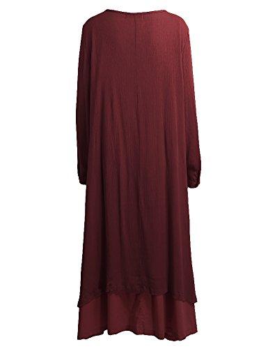 Romacci Women Boho Dress Casual Irregular Maxi Dresses Layered Vintage Loose Long Sleeve Linen Dress,S-5XL by Romacci (Image #2)