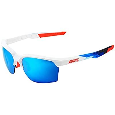 Image of 100% Sportcoupe Sunglasses-Polished White/Geo Print-Hiper Blue Mirror