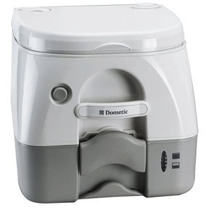 Dometic 301097406 Portable Toilet w/ Stainless Steel Hold-Down Brackets, Gray by Dometic