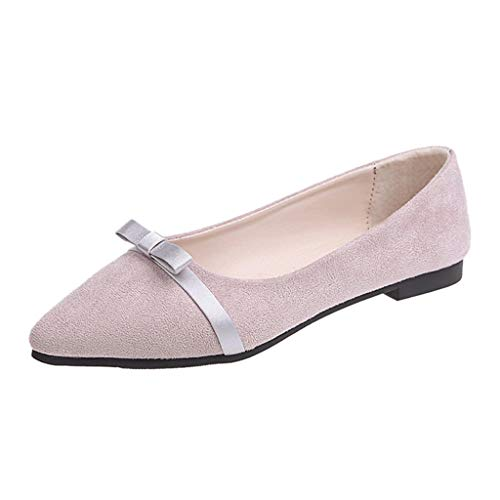ANJUNIE Pointed Toe Oxford Shallow Mouth Women's Shoes Bow Casual Ballet Shoes Flat Peas ()