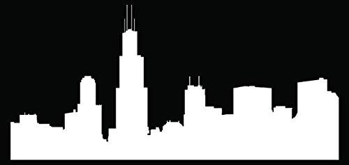 Chicago City Skyline Illinois Car Truck Window Bumper Vinyl Graphic Decal Sticker- (8 inch) / (20 cm) Wide MATTE WHITE Color