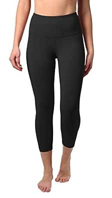 90 Degree by Reflex High Waist Tummy Control Shapewear ? Power Flex Capri Legging ? Quality Guaranteed - Black Medium