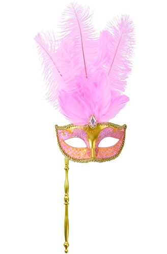 [Coxeer Masquerade Mask Half Face Feather Mask on a Stick Pink Mardi Gras Mask] (Mascarade Mask)