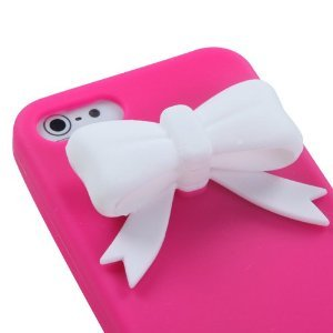 Leegoal White Bow Tie Hot Pink Silicone Soft Cover Case for Apple Iphone 5 5g 6th Gen