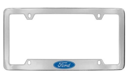 Ford Logo Chrome Plated Metal Bottom Engraved License Plate Frame Holder