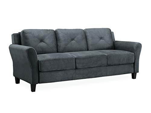 "Lifestyle Solutions Collection Grayson Micro-fabric SOFA 80.3"" x 32"" x 32.68"" Dark Gray"