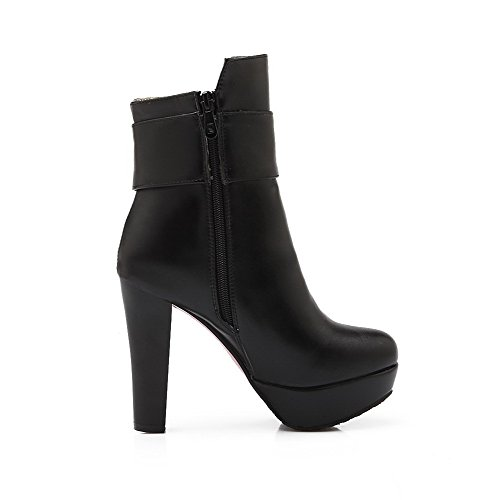 Zipper High Black AgooLar Solid Women's Boots Heels PU top Low RHHqx6Tw