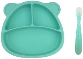 Azul Plato de silicona con ventosa para beb/és fuerte agarre y BLW. PicoTinaS cuchara de f/ácil agarre Plato y cuchara de alimentaci/ón infantil antideslizante